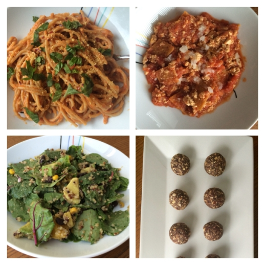 Roasted red pepper pasta; tofu chilaquiles; Mexican quinoa salad; energy bites